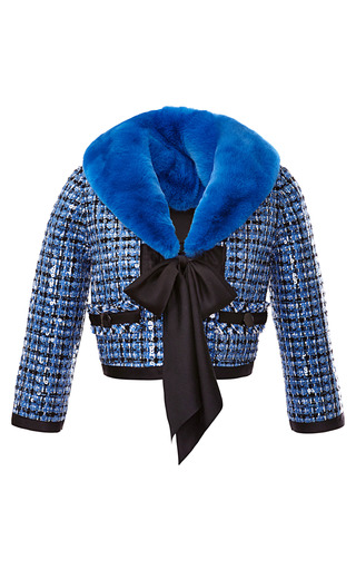 Medium marc jacobs blue fur collared sequin embellished tweed jacket