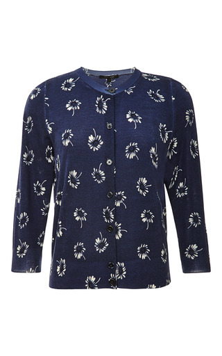Medium marc jacobs blue daisy print wool cardigan