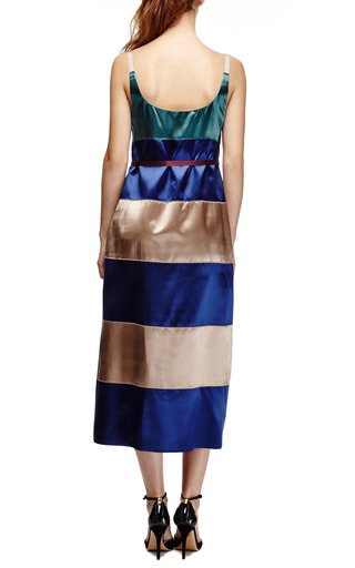 Belted Color Block Satin Tank Dress by MARC JACOBS Now Available on Moda Operandi