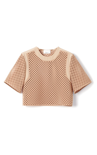 Medium 3 1 phillip lim brown double crepe suiting cropped blouse