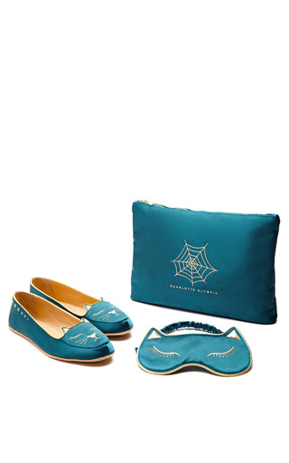 Medium charlotte olympia blue cat nap silk satin slippers and eye mask in teal