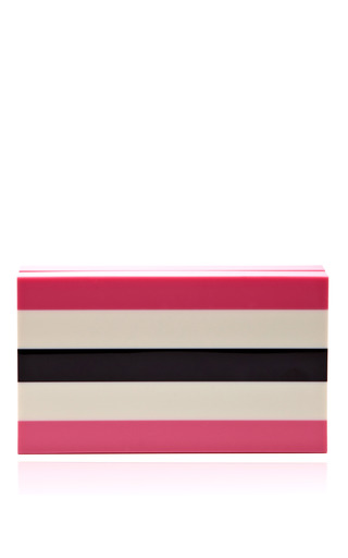 Medium charlotte olympia pink pandora striped perspex clutch
