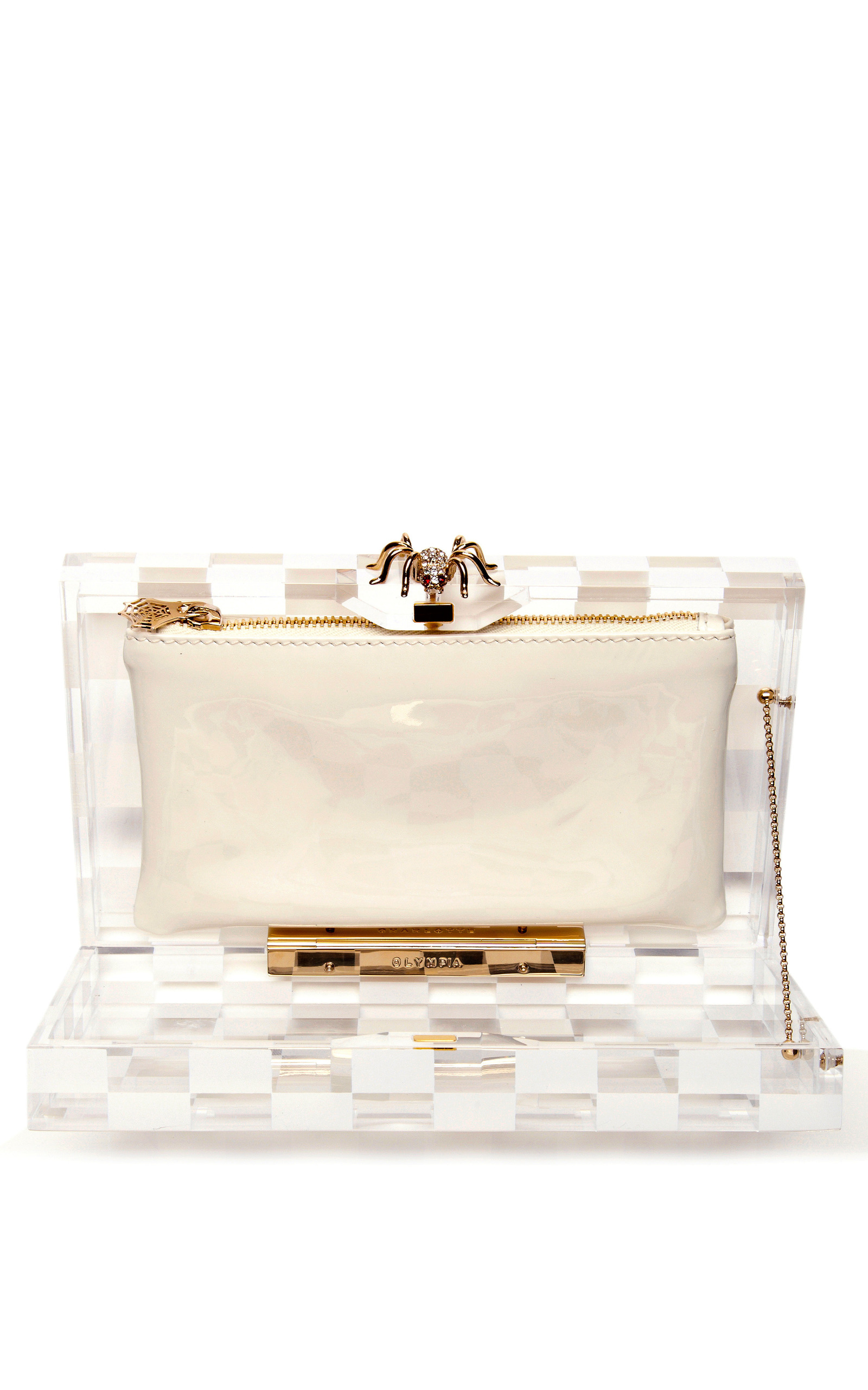 Pandora Squared Perspex Clutch by Charlotte Olympia