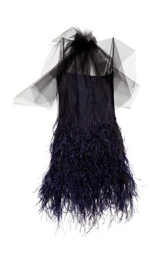Medium wes gordon navy feathered flou embroidered tulle dress
