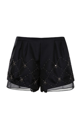 Medium thakoon addition black chiffon trimmed embellished shorts