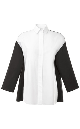Medium giambattista valli white color blocked cotton blouse