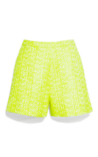 Medium giambattista valli yellow fluorescent tweed shorts