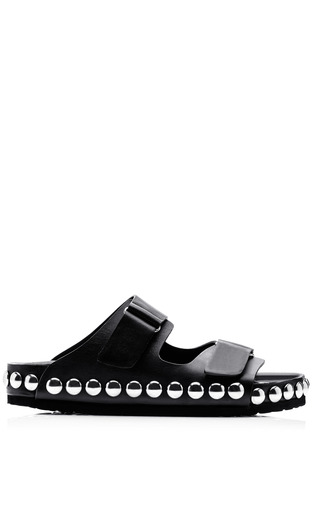 Medium giambattista valli black grommet embellished leather sandals 2