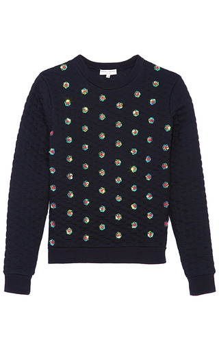 Medium opening ceremony black sparrow quilted embellished sweatshirt