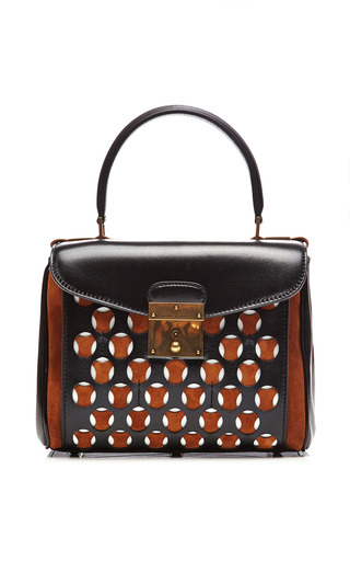 Medium marc jacobs black mini metropolitan leather and suede perforated bag