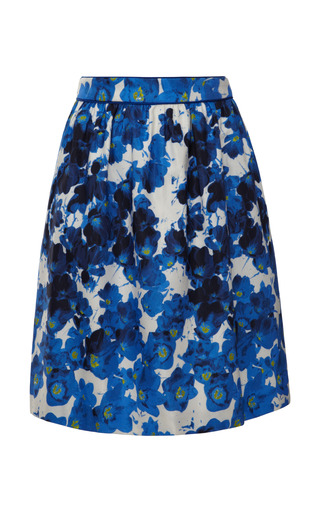 Medium prabal gurung blue floral print cotton twill skirt