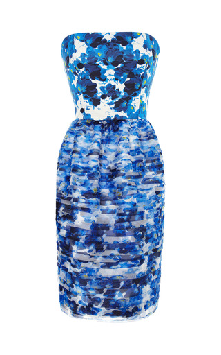 Medium prabal gurung blue printed tiered organza dress