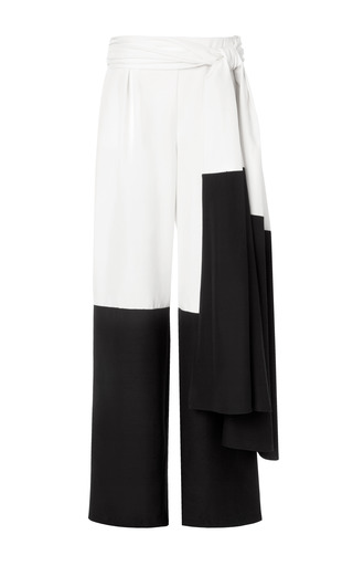 Medium rosie assoulin black silk dupioni sashed wide leg pant