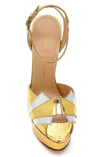 Decodent Metallic Leather Platform Sandals by CHARLOTTE OLYMPIA Now Available on Moda Operandi