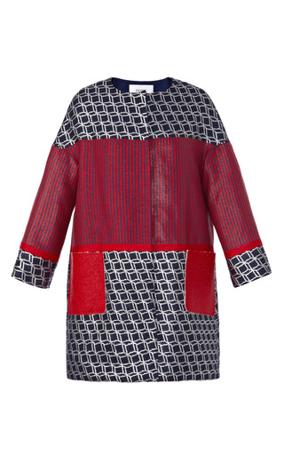 Medium prabal gurung red geometric and striped collarless coat with laminated tweed pockets