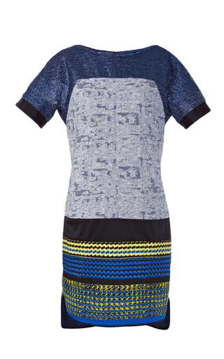 Medium prabal gurung multi light blue metallic tweed combo t shirt dress