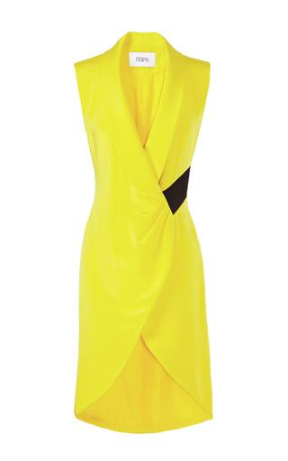 Medium prabal gurung yellow sleeveless tuxedo wrap dress