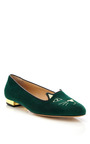 Kitty Embroidered Velvet Slippers by CHARLOTTE OLYMPIA Now Available on Moda Operandi