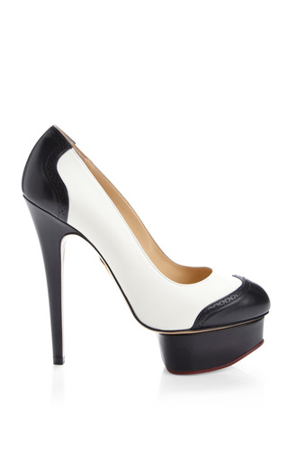 Medium charlotte olympia black spectator dolly leather platform pumps