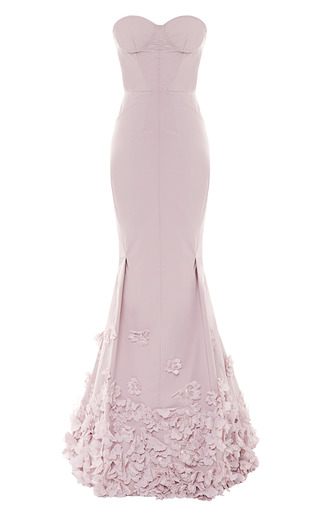 Medium nina ricci pink floral appliqued taffetta gown