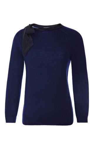 Medium nina ricci black wool and silk trimmed sweater