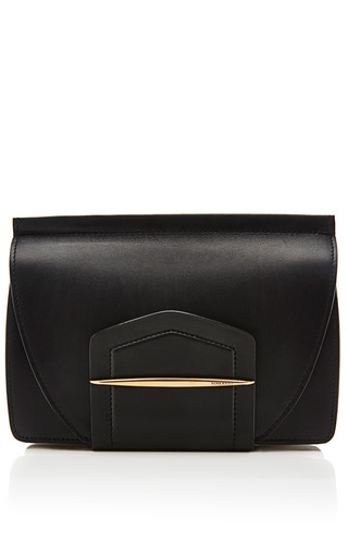 Medium nina ricci black leather and suede clutch