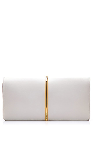 Medium nina ricci white foldover leather and suede clutch