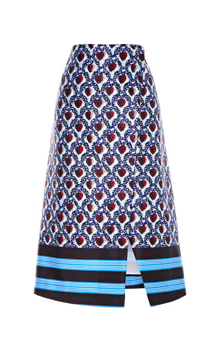 Medium suno blue printed satin a line wrap skirt