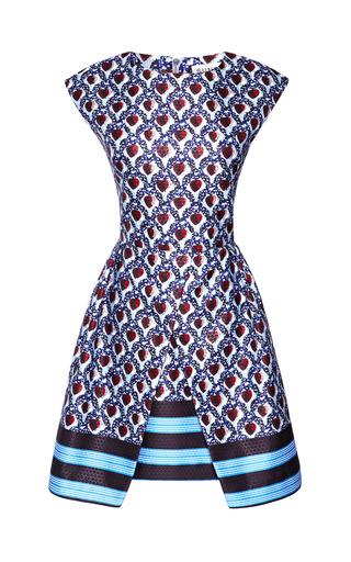 Medium suno blue printed satin a line dress