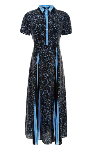 Medium suno black printed washed silk belted dress