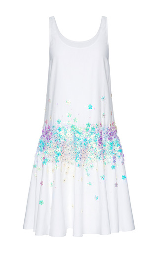 Medium suno white embellished drop waist cotton dress