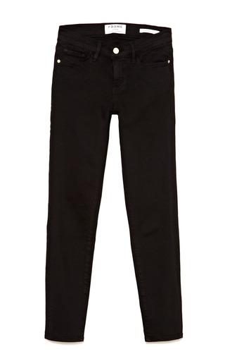 Medium frame denim black le color crop skinny jeans in film noir