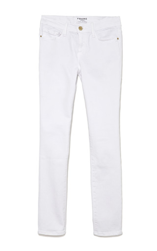 Medium frame denim white le color crop skinny jeans in white