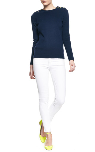 Button Detail Cotton Sweater by PETIT BATEAU Now Available on Moda Operandi