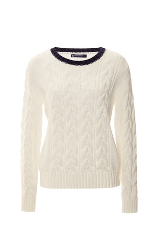 Medium petit bateau brown fidelite cable knit sweater