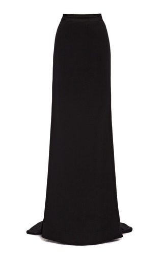 Medium carolina herrera black silk crepe long skirt