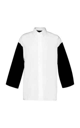 Medium giambattista valli black popeline cotton three quarter length sleeve blouse