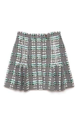 Medium thom browne black summer tweed exposed pleat short skirt
