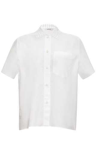 Medium carven white broderie anglaise cotton poplin shirt