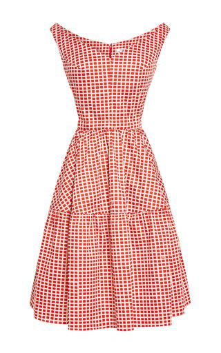 Medium carven red printed v neck a line dress