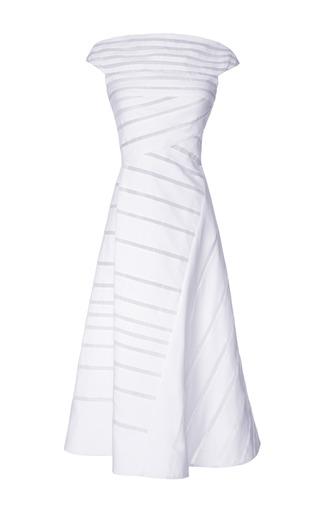 Medium j mendel off white stretch poplin boat neck a line dress