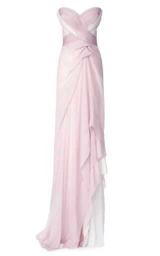Medium j mendel pink silk mousseline and satin faced chiffon bustier gown