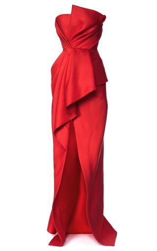 Medium j mendel red silk and wool gazaar strapless bustier gown