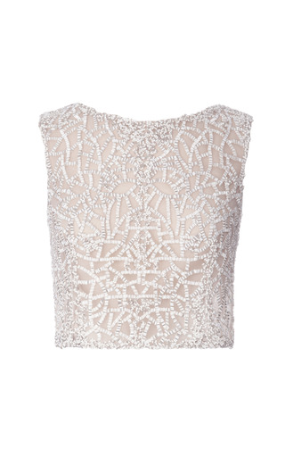 Medium j mendel pink silk mousseline and satin faced chiffon mosaic top
