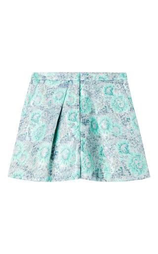 Medium msgm multi blue flower lurex brocade shorts