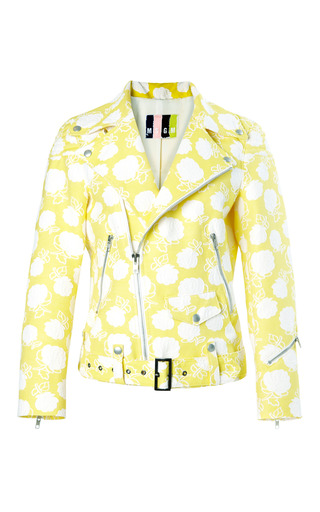 Medium msgm yellow rose jacquard biker jacket