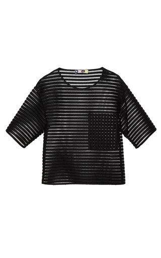 Medium msgm black sport mesh stripe t shirt