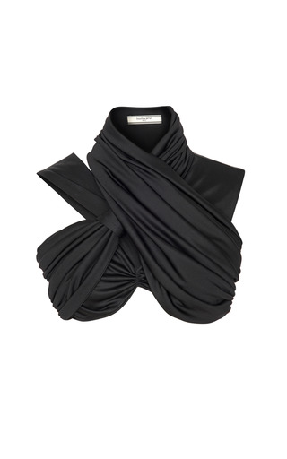 Medium bouchra jarrar black fluid jersey draped crop top