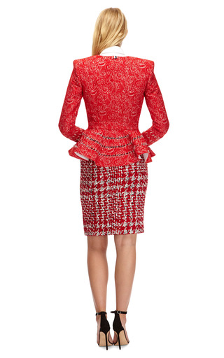 Rubberized Boucle Pencil Skirt by THOM BROWNE Now Available on Moda Operandi