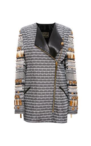 Medium fausto puglisi white zip long blazer